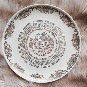 VTG 1960 Taylor-Smith-Taylor Calendar Decor Plate